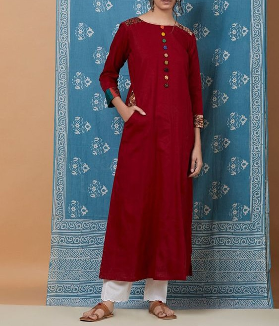 Hand Embroidered Boat Neck Long Kurti with Pants Latest Indian Designer Dress For Women