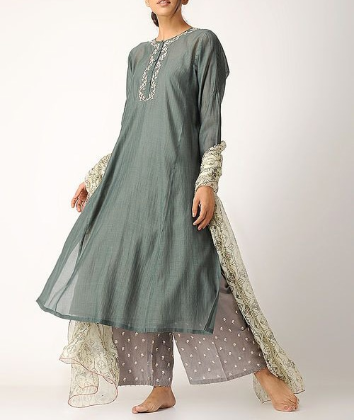Indian Pakistani Designer Traditional Stylish Fancy Embroidered Kurta with Sharara & Dupatta