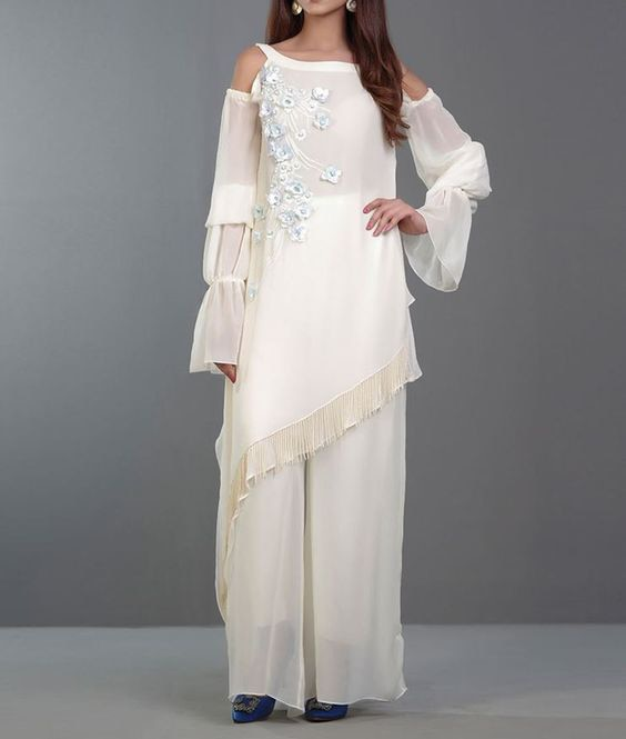 Indian Designer Handmade Party Wear Wedding Wear Embroidered Kurti with Sharara for Women