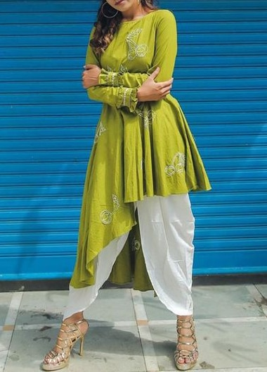 Lovely Indian Handmade Dhoti Dress with Designer Embroidered Kurti Latest Bollywood Style Indian Dress Collection