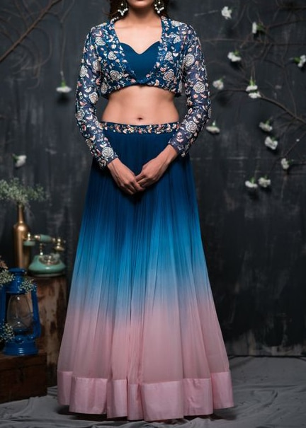 Exclusive Latest Embroidered Bollywood Style Wedding Wear Crop Top Lehenga Dress For Women