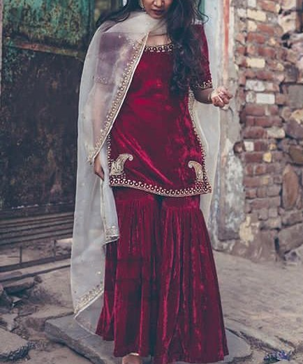Exclusive Indian Pakistani Traditional Velvet Kurta with Sharara Top New Bollywood Style Indian Dress Collection