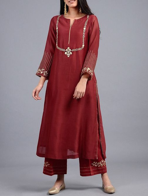 Indian Designer Stylish Embroidered Traditional Kurta with Pants Top New Indian Ethnic Dress