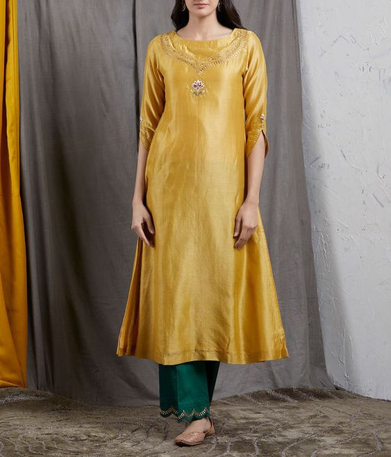 Stylish Party Wear Indian Embroidered Ethnic Kurta with Pants Latest Handmade Stitched Dress