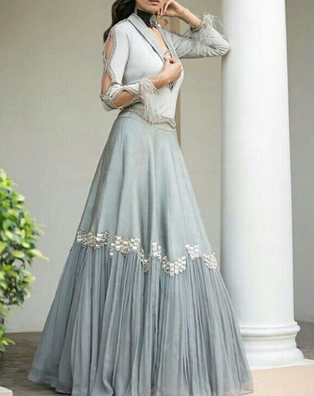 Indian Ethnic Designer Collared Blouse with Lehenga Beautifull Wedding Wear Indian Dress Collection