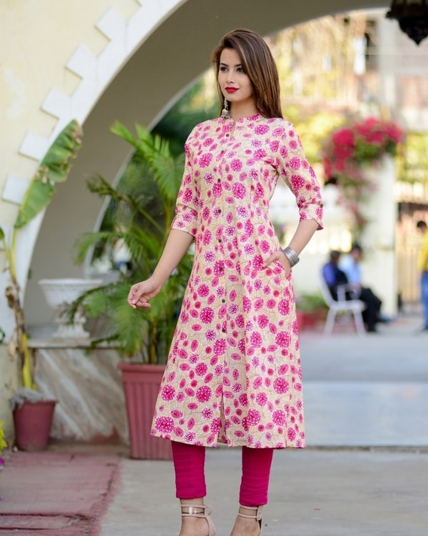 Pink Floral Print Kurti With Pockets