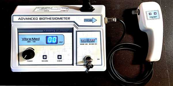 Biothesiometer helps us quantitate the threshold and monitor progressive changes or trends on following up testing.Features:•Compact design with PC connection•Easy tool to quantify neuropathy•Digital 0-50 Volts indicator •Light Weight Unit •User Friendly Remote key on probe transfers the data to PC•Vibration Check key to confirm result•PC Software For Data Storage & Transmission•Over load Indicator Alarm•High Accuracy•Alarm when probe not connected•220V, AC, 50Hz Mains operation•AC Cord for USA and other countries Standard Accessories :Main Unit :01 No.Probe :01 No.USB: 01 No.AC Cord for USA and other countries provided :01 No.Instruction Manual :01 No.