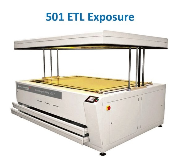"""GLUNZ & JENSEN - 501 ETL Exposure1) Exposure unit for large-format flexographic plates up to 1320 x 2030 mm (52 x 80"""")2) Pivot-hinged lid opens with pneumatic action for fast and safe access to three sides of the exposure bed3) Also available with vertical top lift for more convenient access with large plate handling4) Glass exposure bed eliminates the need to turn the plate during the two phases of exposure5) Includes cooled bed, lamp cooling, light integrator and PLC controlExposure unit automatic pneumatic lid. Double side exposure with automatic shutter. Lamps temperature control and regulation. Light integrator for automatic UV variation compensation for back and main exposure. 2 storage drawers.Available accessories/options (see below):- Build-in punch- External punchPlate size (W x L): 132 x 203 cm. / 52 x 80 inch.Crated Weights and Dimensions (LxWxH): 1.800 kg., 332 x 230 x 150 cm. / 3,960 lbs., 131 x 91 x 59 inch."""
