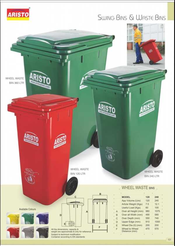 Waste Bins: which are widely used by Industries. Municipalities, Airports, Co-operative Housing Societies, Parks. Commercial and Residential Complexes, Hotels and Restaurants, Apartments, Resort. . Environmental Friendly, Long Lasting, Easy to use & maintain, Safeguards public health, Prevent diseases, Safe for workers,Used Area:Apartment/Office/CommercialComplex/College/Hospital/Factory Campus/Resorts/Malls/Schools/Film Theater/Parks/Memorial Halls/Convention Halls/Government Commercial Complex/Temples/Airport.Size: 490 X 550 X 910 mm (WDH) **.Color: Blue/Green/Red/Yellow.**All the dimensions, capacity and weight are approximate & only for reference.Subject to technical modification container according to EN standards.