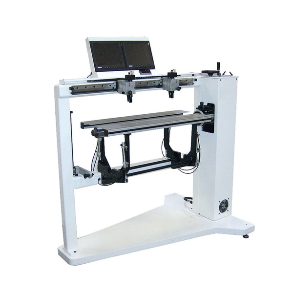 """GLUNZ & JENSEN - Flex Mount 12801) A floor standing manually operated plate mounter designed for mid-web applications2) Pneumatically controlled tables help facilitate the ease of plate mounting3) The two-camera system enlarges microdots and registration marks by 40 times4) A digital LED display provides precise mounting locationsThe FlexMount 850/1280 is a floor standing manually operatedplate mounter designed for mid-web applications.It is equipped with a fixed cantilever shaft; exact shaft dimensionswill be prepared based on your specific cylinder dimensions, up to amaximum size of 850mm/33.4"""" (850 model) and 1280mm/50.4""""(1280 model) in width and 760mm (29.9"""") in repeat.Pneumatically controlled tables help facilitate the ease of platemounting. The two-camera system enlarges microdots andregistration marks by 40 times magnification and displays themdirectly on a LCD monitor. A digital LED display provides precisemounting locations"""