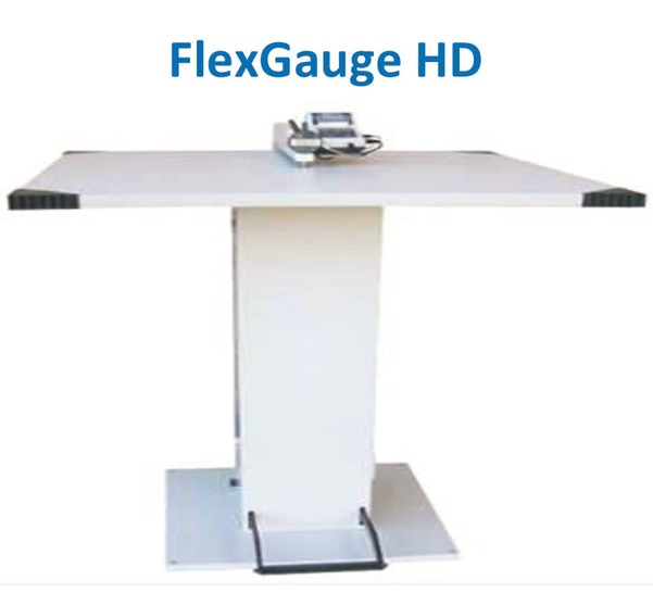 GLUNZ & JENSEN - Flex Gauge HD1) Used for exact measuring of the plate thickness/gauge, ensuring a perfect plate quality before printing2) The table has a good ergonomic height and is built with a heavy duty steel construction3) The plate thickness indicator is very simple to operate and a foot pedal is used to activate the measuring deviceTable:  900 x 900 x 30 mm (35.4 x 35.4 x 1.2 inches)L x W x ThicknessTable height:  1063 mm (42 inches)Foot pedal to activate the measuring deviceAdjustable leveling feetMitytoyo digital indicatorMitutoyo Digimatic mini-processor DP-1VR with printing functionNet weight 200 kg. / 441 lbs.Crated Weights and Dimensions (LxWxH):250 kg., 130 x 130 x 167 cm. / 551 lbs., 51,5 x 51,5 x 65,7 inch.
