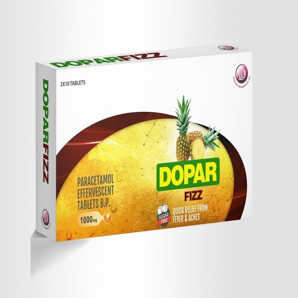 Dopar Fizz 1000mg - Quick Relief from Fever & Aches.Paracetamol Effervscent Tablets Manufacturer in Mumbai, India.