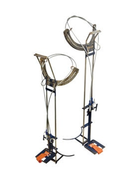 This equipment is used to climb coconut tree. The Coconut Tree climber consists of two metal loops that are meant for holding the legs. They have a handle at the top for hand grip and a pedal base at the bottom. The loops are put around the tree trunk on the opposite sides. The loop on either side is lifted up by the simultaneous movement of the hand and feet. By such alternate motion, one can easily climb a coconut tree in minutes.