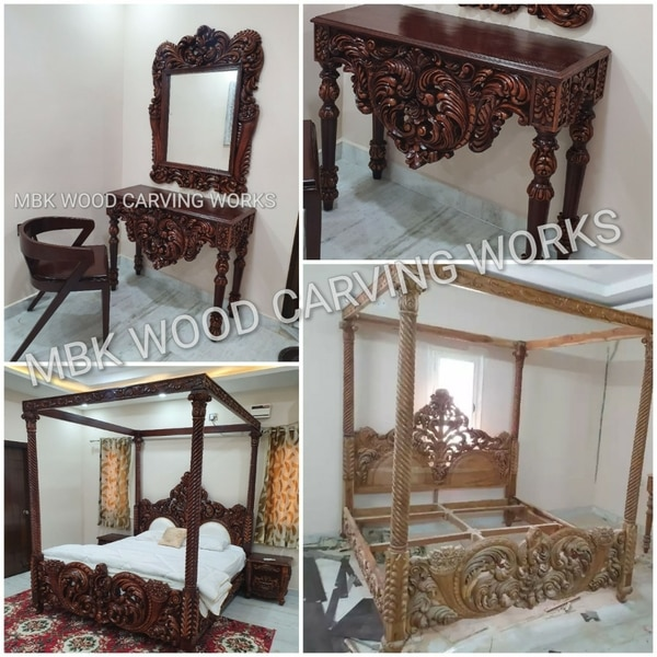 wooden bedroom double bed and dressing table with chai and 2 side box bed nice working carving design beautiful polish finish aur mosquito net option solid 7 feet pillar