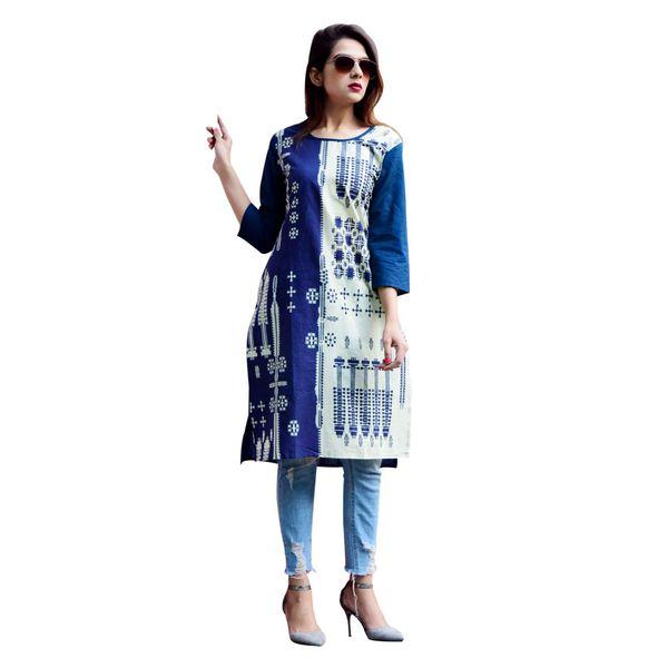 Women's Straight Printed Designer Ethnic Blue Kurta Kurti