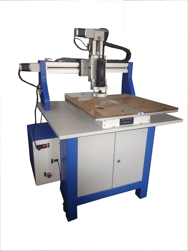 Quick Drill series from Cybernetic are one of the most advanced CNC PCB drilling & routing Machines with modern features for accurate and Fast drilling & complex routing Performance. Quick Drill single / dual / three spindle models is a compact machine that occupies very small space. This machine is really a workhorse and can be used continuously 24 hrs a day & 7 days a week. Machines are complete with drill import and profile routing software. Machine comes with standard water cooled  60000 rpm & 1.2 Kw power (optional high speed spindle up to 100K rpm). Any other Spindle can be installed on Z axis because of universal T slotted plate attached on Z-axis. Single Spindle PCB Drilling / Routing Machine Quick Drill Model 5050: PCB Drilling & Routing Area - Single Spindle model 500 x 500mm, Double Spindle : 250 X 500 mm Special Features : Compact & Economical Rigid construction of high quality ball screws and linear bearings on all axes. Positional Accuracy : 0.01 mm Machine bed with universal fixture system.Suitable for dowel Pin stack system. Spindle option 1: 8000-26000 RPM 900 Watt Spindle with 1/8