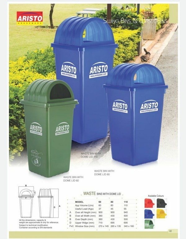 Aristo DustbinSize: 940mmHx500mmWx695mmDWindow Lid Size: 265mmx135mmUsefull Load: up to 55kgPlastic Quality: HDPEUsed Area: Comercial and Domestic