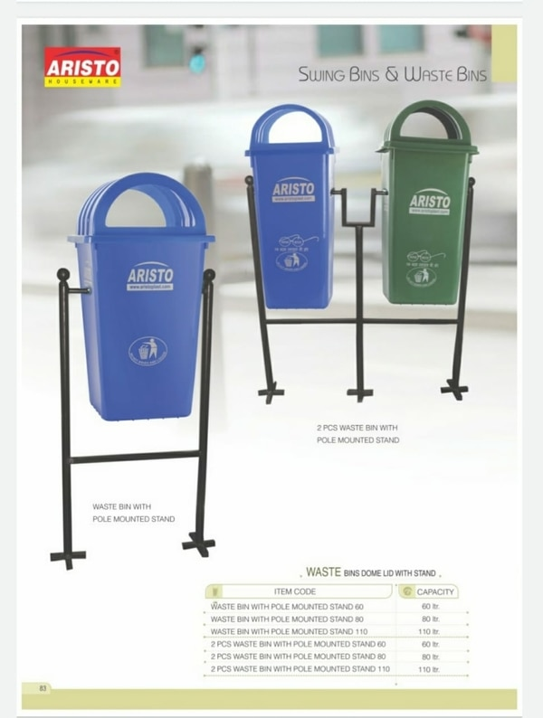 Aristo Dustbin With Stand 110L Size: 940mmHx500mmWx695mmD Window Lid Size: 265mmx135mm Usefull Load: up to 55kg Plastic Quality: HDPE Installation Type: Floor